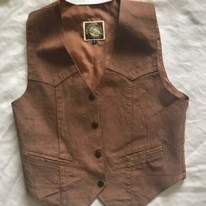 Vintage leather vest tan size small